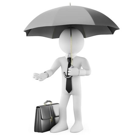 lazo negro: Hombre de negocios con un paraguas y un malet�n