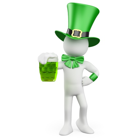 Man celebrating St Patrick s day with a green beer and a hat photo