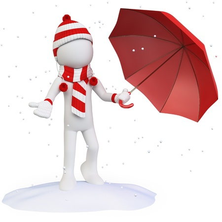 red scarf: Seasons. Winter. Man in the snow with an umbrella hat scarf and gloves