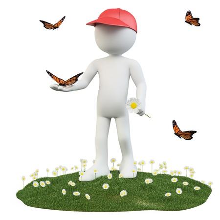 hombre con sombrero: Seasons. Primavera. El hombre con una flor y una mariposa en la mano Foto de archivo