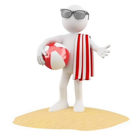 Seasons. Summer. Man on the beach with a ball a red and white towel and black sunglasses photo