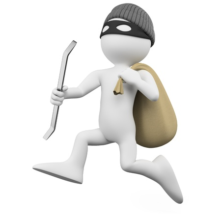 burglar man: Thief running with a crowbar and a sack Stock Photo