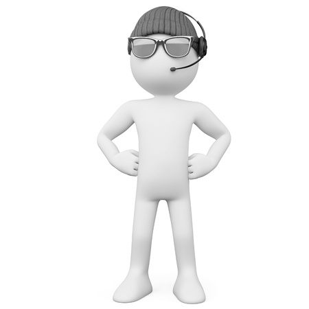 Bodyguard with a hat sunglasses and headphones photo