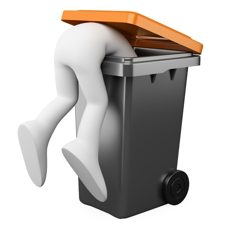 rubbish bin: 3D person looking for something in a bin