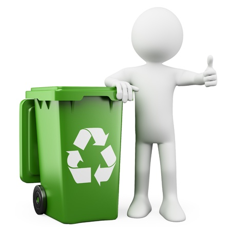reciclar basura: Persona en 3D que muestra un contenedor verde para el reciclaje