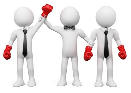 arbitro: Árbitro de boxeo elegir el ganador del encuentro entre dos hombres de negocios