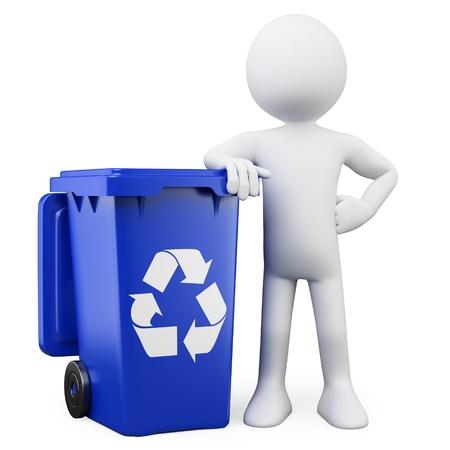 basura: Hombre 3D que muestra un contenedor azul de reciclaje