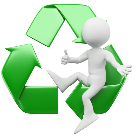 environmental protection: 3D man sitting in the recycling symbol