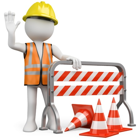 road barrier: Worker with a reflective vest and hard hat leaning on a construction barrier