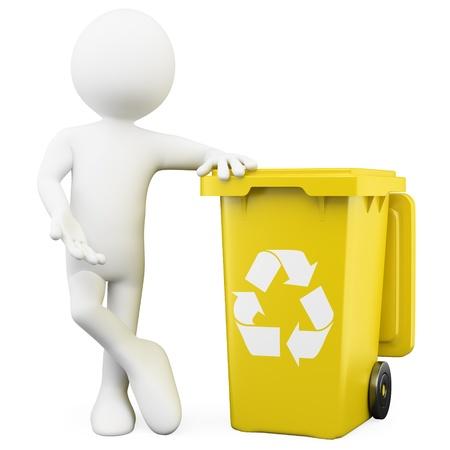 recyclage plastique: L'homme en 3D montrant un bac jaune pour le recyclage Banque d'images
