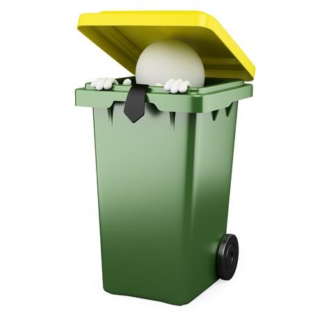 garbage man: Businessman hiding in a trash bin Stock Photo