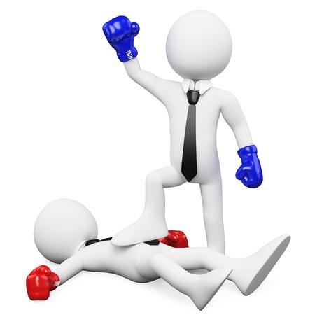 guantes de boxeo: Hombre de negocios de ganar un combate de boxeo y con el pie a su rival