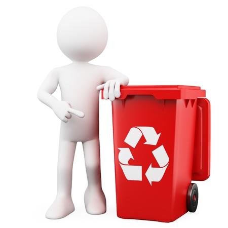 garbage bin: 3D man showing a red bin for recycling