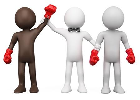 pugilist: �rbitro de boxeo elegir el ganador del encuentro entre dos boxeadores