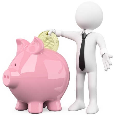 Businessman inserting a coin in a pink piggy bank photo