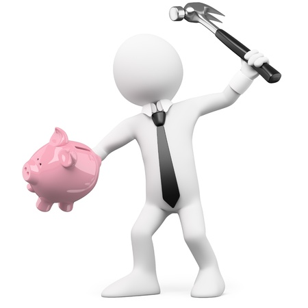 broke: Businessman breaking a piggy bank with a hammer