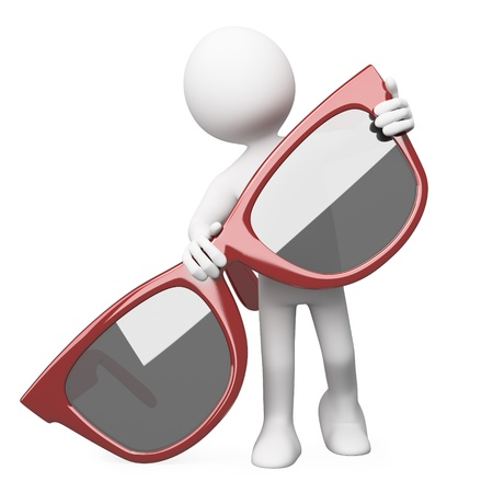 sunglasses reflection: Man posing with a huge red sunglasses