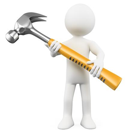 riparatore: 3D uomo con un martello enorme. Resa ad alta risoluzione su uno sfondo bianco con ombre diffuse. Archivio Fotografico