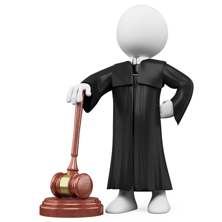 law: 3D judge with robe and hammer. Rendered at high resolution on a white background with diffuse shadows.