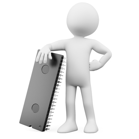 circuito integrado: 3D hombre posando con una enorme microchip. Prestado en alta resoluci�n en un fondo blanco con sombras difusas.