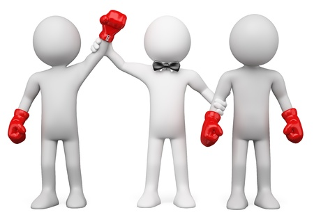 loser: 3D Boxing Referee choosing the winner between two boxers. Rendered at high resolution on a white background with diffuse shadows. Stock Photo