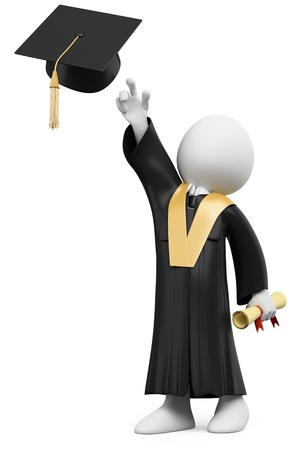graduacion caricatura: Estudiante 3D vestido con toga y birrete de graduación día. Dictada en alta resolución en un fondo blanco con sombras difusas.