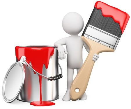 3D artist posing with a can of red paint and paintbrush. Rendered at high resolution on a white background with diffuse shadows. photo