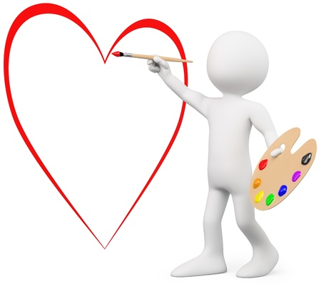 diffuse: 3D lover painting a heart on a wall. Rendered at high resolution on a white background with diffuse shadows.
