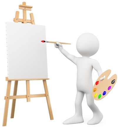 graphic artist: 3D artist painting on a canvas on an easel. Rendered at high resolution on a white background with diffuse shadows.