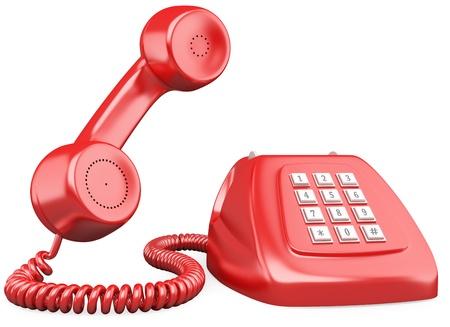 3D rode ouderwetse stijl telefoon. Gesmolten met een hoge resolutie op een witte achtergrond met diffuse schaduwen.