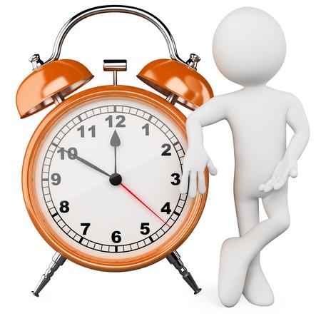 schedules: 3D hombre con un gran reloj de alarma. Dictada en alta resoluci�n en un fondo blanco con sombras difusas. Foto de archivo