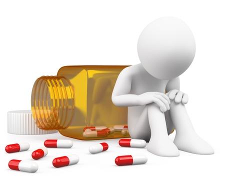 drogadiccion: Hombre deprimido 3D de tomar las píldoras. Dictada en alta resolución en un fondo blanco con sombras difusas.