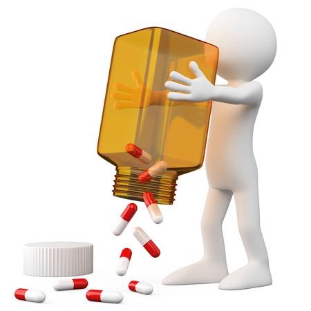 약물 치료: 알 약의 병을 비우는 3D 의사. 확산 그림자와 흰색 배경에 높은 해상도에서 렌더링합니다. 스톡 사진