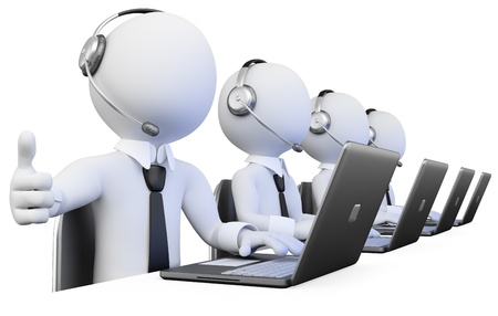 customer service phone: 3D Operators working in a call center. Rendered at high resolution on a white background with diffuse shadows.