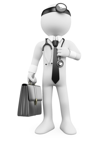 3D Doctor with a briefcase and a stethoscope. Rendered at high resolution on a white background with diffuse shadows.