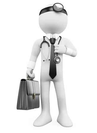 doctor: Doctor en 3D con un malet�n y un estetoscopio. Dictada en alta resoluci�n en un fondo blanco con sombras difusas. Foto de archivo