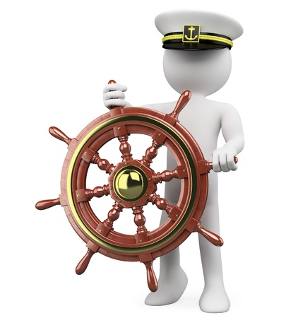 steering: 3D Captain sailing a wooden rudder. Rendered at high resolution on a white background with diffuse shadows.