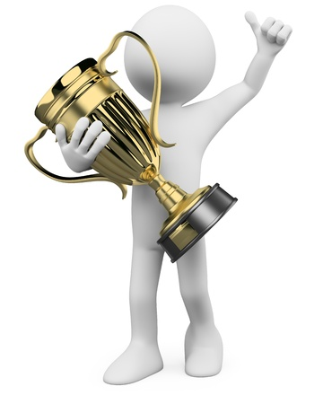 trofeo: Ganador en 3D con un trofeo de oro en las manos. Dictada en alta resoluci�n en un fondo blanco con sombras difusas.
