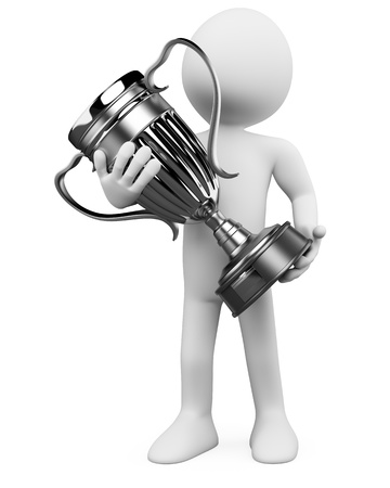 winning stock: 3D man with a silver trophy in the hands. Rendered at high resolution on a white background with diffuse shadows.