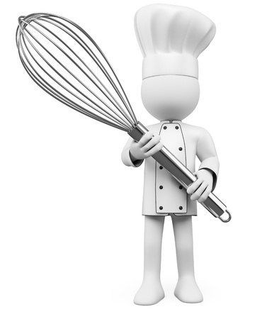 3D Cook posing with a mixer. Rendered at high resolution on a white background with diffuse shadows. Stock Photo