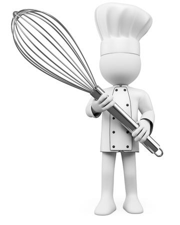 panadero: Cocine 3D posando con un mezclador. Dictada en alta resolución en un fondo blanco con sombras difusas.