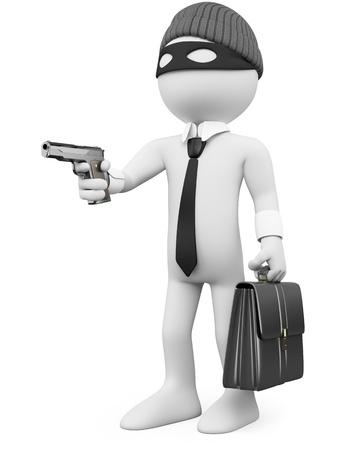 corrupcion: Delincuente de cuello blanco con una pistola. Dictada en alta resoluci�n en un fondo blanco con sombras difusas.