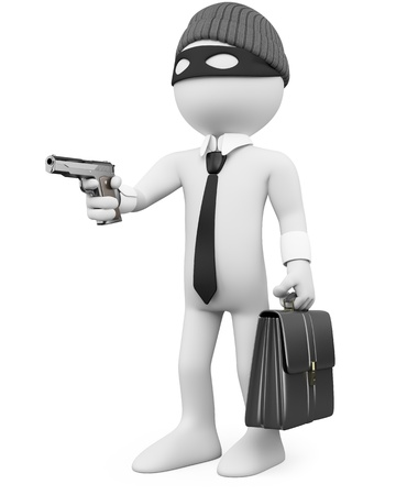 White-collar criminal with a gun. Rendered at high resolution on a white background with diffuse shadows.