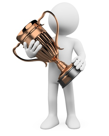 bronze: 3D man with a bronze trophy in the hands. Rendered at high resolution on a white background with diffuse shadows.