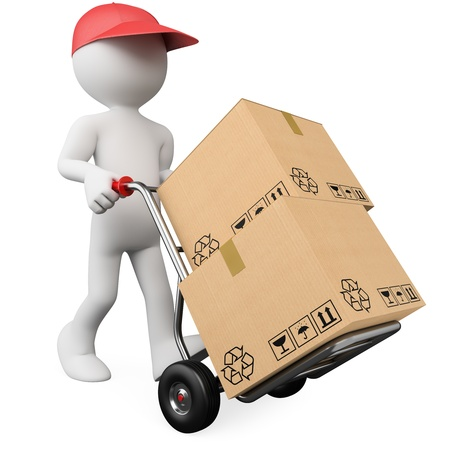 parcel service: 3D worker pushing a hand truck with boxes. Rendered at high resolution on a white background with diffuse shadows.