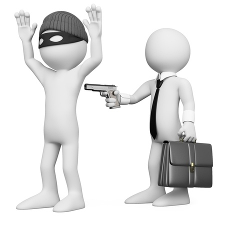burglar: 3D businessman robbing a robber. Rendered at high resolution on a white background with diffuse shadows. Stock Photo
