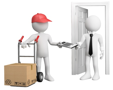 3D worker delivering a package. Rendered at high resolution on a white background with diffuse shadows.