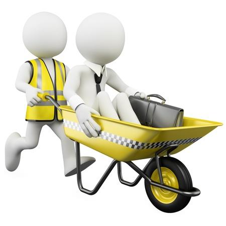 servicios publicos: Hombre de negocios en 3D en un taxi anticrisis. Dictada en alta resoluci�n en un fondo blanco con sombras difusas.