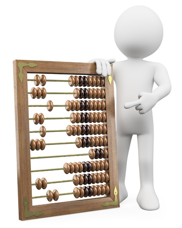 compute: 3D man with a huge abacus. Rendered at high resolution on a white background with diffuse shadows.