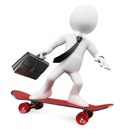 nonpolluting: 3D Businessman going to work on a skateboard. Rendered at high resolution on a white background with diffuse shadows. Stock Photo